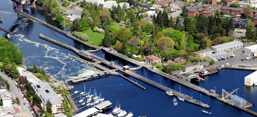 Aerial view of Hiram M. Chittenden Locks